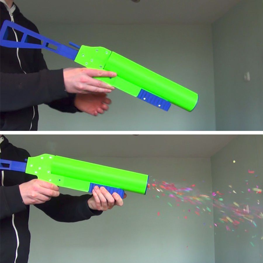 pistol.jpg Download free STL file 3D Printed Party Popper Pistol • Template to 3D print, MBcreates
