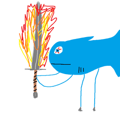 FishWithFlamingSword.png Download free STL file Tuna Beef Flame Stabber • Template to 3D print, Maniac1