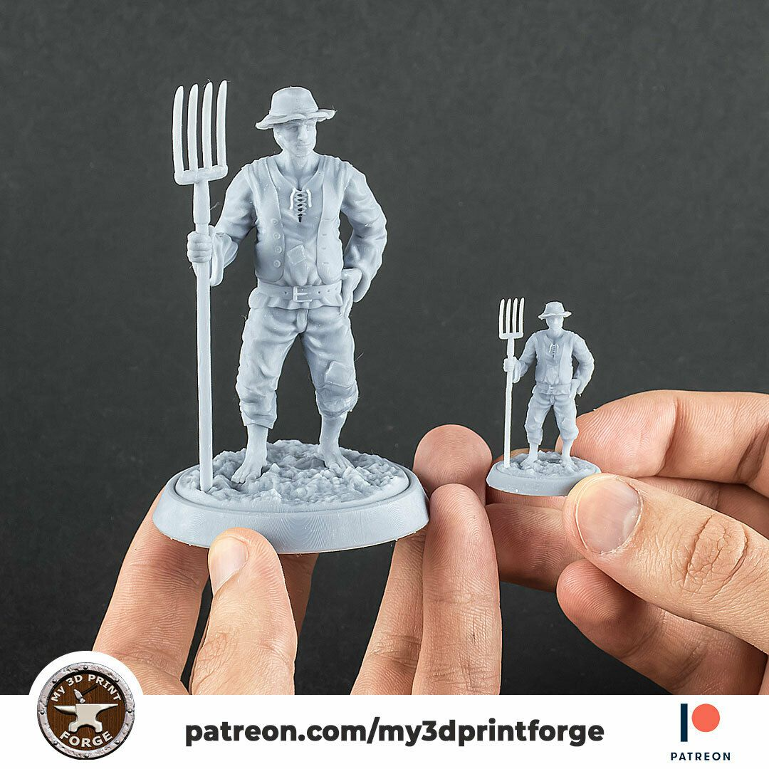 farmer-pitchfork-my3dprintforge.jpg Download STL file Farmer with pitchfork 32mm and 75mm scale pre-supported • 3D printable template, My3DprintFORGE