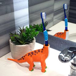 aa88e384a84b5f093736e6295c3d6e2e_display_large.jpg Download free STL file Multi-Color Dinosaur Toothbrush Holder • 3D printing template, MosaicManufacturing