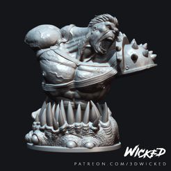 Wicked_Planet_Hulk_bust_wax_04.jpg Télécharger fichier STL Buste de Hulk • Modèle pour impression 3D, Wicked3D