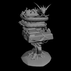 myhouse.jpg Download free STL file Japanese Castle on Tree and Protected by a Dragon • 3D printing template, gabasebas