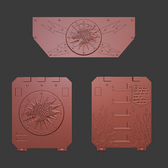 Rhino_parts.png Download free STL file Salamanders Rhino Door and Frontal Ornaments • 3D printer template, Red-warden-miniatures