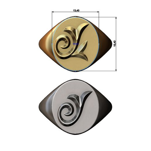 S-FLORAL6-03.JPG Download 3MF file Oval floral scroll motif signet ring • 3D print template, RachidSW