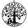 arbre de vie-chats.png Download free STL file Cats in love in a Tree of Life • 3D printer model, oasisk