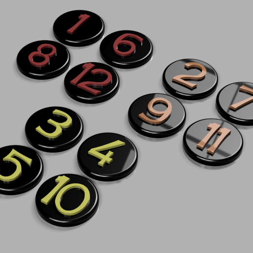 All Numbers v1.png Download free STL file Root Clearing Tokens • 3D printing object, endofturn