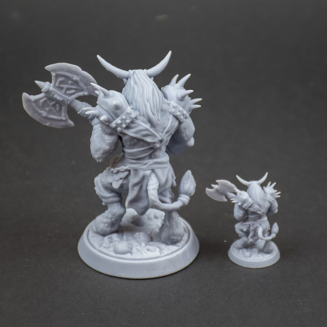 Patreon-february-3d-miniature-release-my3dprintforge-13.jpg Download STL file Minotaur with axe 32mm and 75mm pre-supported • 3D printer template, My3DprintFORGE