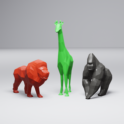 LowPolyAfricanAnimalPack-render-adjusted.png Télécharger fichier STL Collection d'animaux africains Low Poly • Modèle pour impression 3D, 3DSanctuary