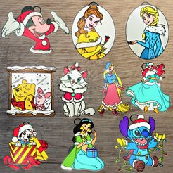 Noel-2-all.jpg Télécharger fichier STL Lot 10 ornements Disney Noël #2 • Modèle à imprimer en 3D, DG22