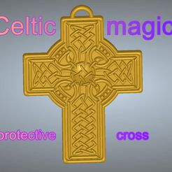 Celtic-magic-pritective-cross-CRUX-08-00.jpg Download STL file celtic magic protective cross necessary accessory Gift Jewelry witch witcher sorcerer shaman tarot divination 3D print model cnc • 3D print object, Dzusto