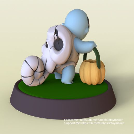 Squirtle pokemon halloween - cults2.jpg Download free file Squirtle With Pumpkin Pokemon Halloween • 3D printing model, FunBox3dtoy