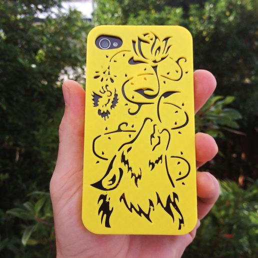 Wolf-Iphone-Case-R.jpg Télécharger fichier STL Loup hurlant Iphone 5 5s • Objet imprimable en 3D, Custom3DPrinting
