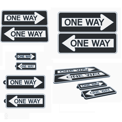 one way.png Descargar archivo STL gratis ONE WAY traffic signal 4 models • Plan para la impresión en 3D, romerogagustin