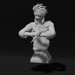 image.png Download STL file Kakashi Hatake inspired high poly Bust • Template to 3D print, theguyfromhere