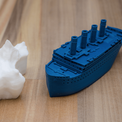 Capture d'écran 2018-02-27 à 17.49.49.png Download free STL file Small compressed Titanic and scale example of the iceberg • Model to 3D print, vandragon_de