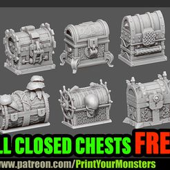 CHESTS.jpg Download free STL file 6 CLOSED CHESTS • 3D printable object, PrintYourMonsters