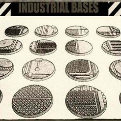 01.jpg Download free STL file 32mm Industrial Miniature Bases (x16) - For Warhammer 40k, Dungeons & Dragons, Pathfinder and more. • 3D printing object, KaerRune