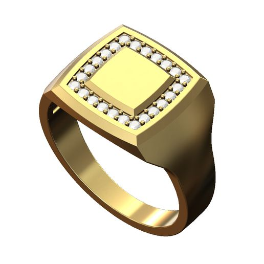 Diamond-square-signet-ring-size8-00.JPG Download 3MF file Square Diamond Geometric Signet Ring 3D print model • Object to 3D print, RachidSW