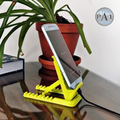 cell-holder-No2-003b.jpg Download free STL file Print-in-place cell phone stand V002! • Object to 3D print, PA1