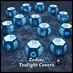 Zodiac_all_render.jpg Download STL file Zodiac Tealight Covers - Full Set • Template to 3D print, c47