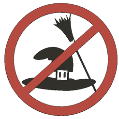 No witch hats and brooms.png Descargar archivo STL No Witch hat and Broom - Funny sign • Objeto para impresora 3D, Lammesky
