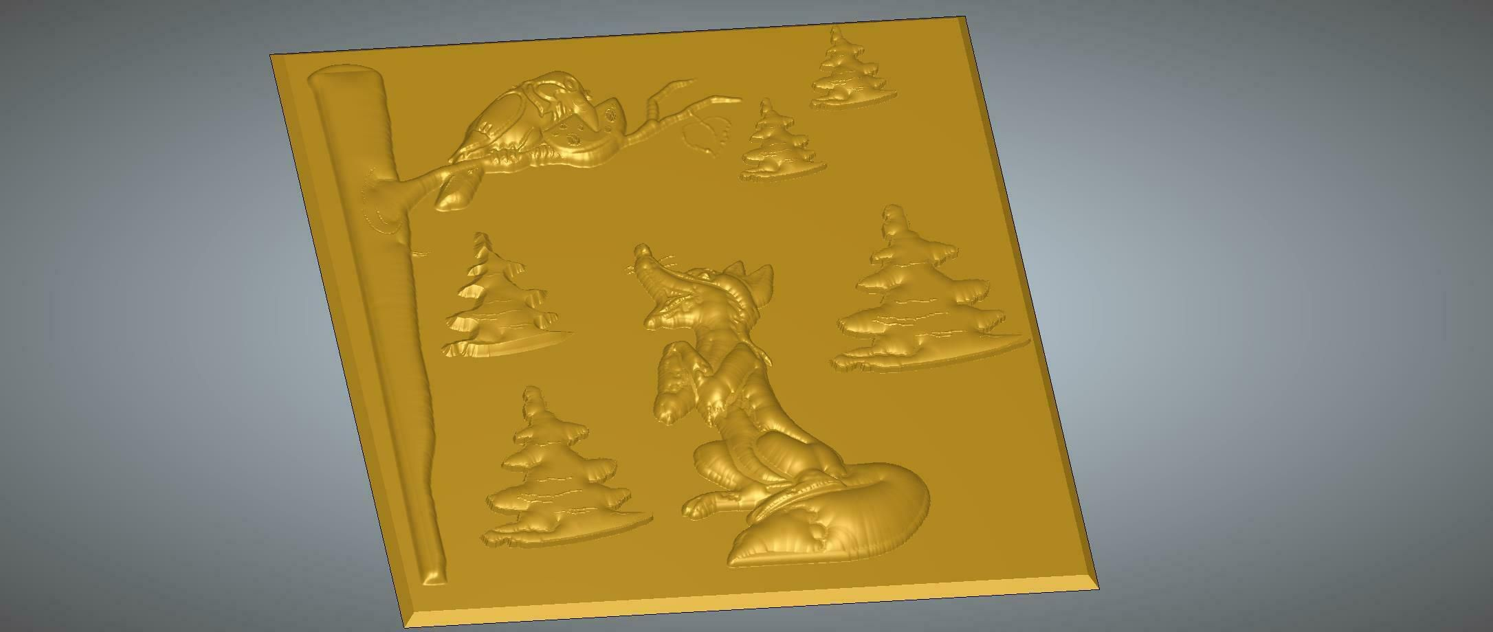 """lisa-02-03.jpg Download STL file Bas-relief real 3D Relief For CNC and sculpture building decor for decoration """"THE CROW AND THE FOX"""" lisa-02 3d print and cnc • 3D printer template, Dzusto"""