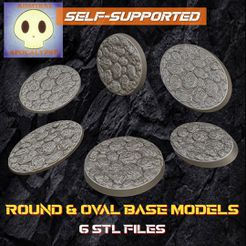 Screenshot_1-1-01.jpeg Download STL file Rock ground Base Set 2 (Round and Oval Bases// 6 different base sizes) • 3D printable design, admiral_apocalypse