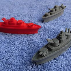 battleship_2_display_large.jpg Download free STL file BATTLESHIPS - with Rotating Gun Turrets (No support required) • 3D printer template, Muzz64