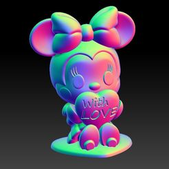 Minnie With Love 25.jpg Download STL file Minnie With Love Valentine's Day Pendants & Decorations • 3D printable object, 3D_Dragon