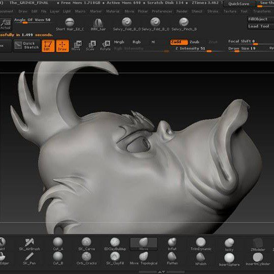 GrinchZbrush_SQUARE.jpg Download STL file The Grinch • 3D printing template, EddieChristian