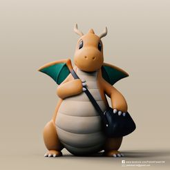 Dragonite_2.jpg Télécharger fichier STL gratuit Dragonite(Pokemon) • Design à imprimer en 3D, PatrickFanart