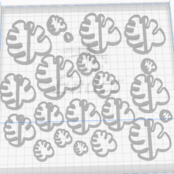 weqwe.png Download STL file Polymer Clay Earring Cutter Dangle -  Monstera set - 21 pieces 10-60mm • 3D printable design, josephco3637