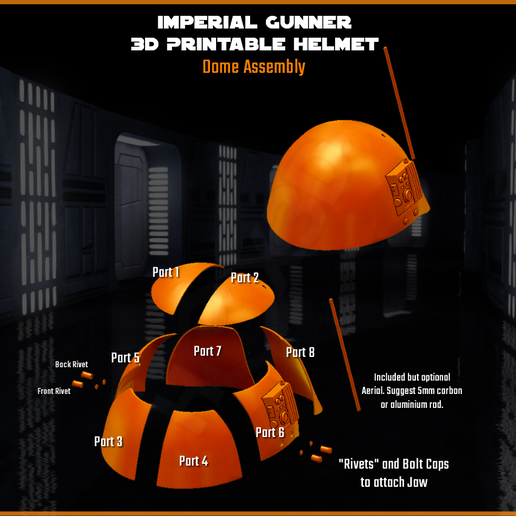 Dome_Assembly.png Download STL file Imperial Gunner 3D Printable Helmet • 3D printable template, Geoffro