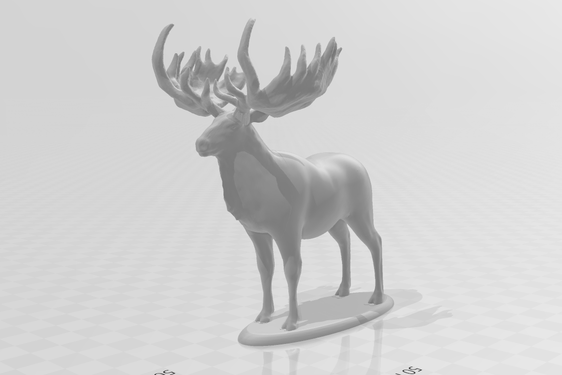 GiantElkPlainwBase.png Download STL file Giant Elk / Irish Elk Miniature (with and without base) • Template to 3D print, ethansweitzer