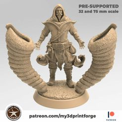 My3Dprintforge-patreon-Mage-2.jpg Download STL file Azir the Wind Mage 32mm and 75mm pre-supported • 3D printable template, My3DprintFORGE