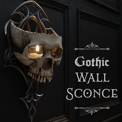 Skull Sconce Cover IG_Cults.png Download STL file Gothic Wall Sconce • 3D printing model, TJDesigns