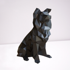 s-f-2.png Download free STL file Statue Border Collie Low Poly Dog Decoration • 3D printer object, STLEXPRESS