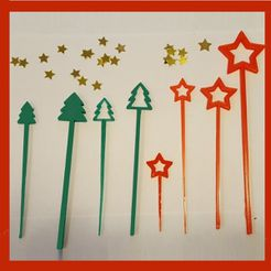 holiday picks 8.jpg Download free STL file Holiday Party Picks and Swizzle Sticks • 3D print model, barb_3dprintny