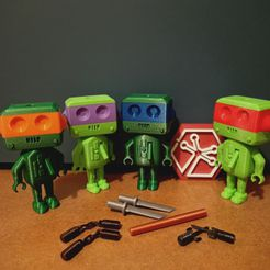 IMG20210123212145.jpg Download free STL file NINJA TURTLES WEAPONS FOR CYBER_ROB THE ROBOT (EXPANSION) • 3D printer template, mellocarlo