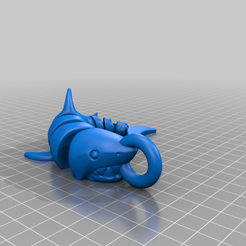 Curled_Shark_v2.0_C_KC.png Download free STL file Remixed curled shark key chain • 3D printer design, bigj121
