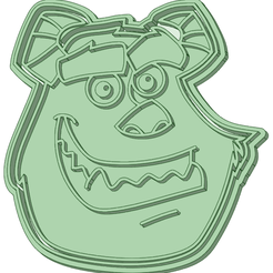 S75_e.png Download STL file Sullivan Monsters Inc face 75mm cookie cutter • Design to 3D print, osval74