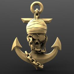 Pirate skull 3.1.jpg Download STL file Pirate skull 3 • 3D printable model, Majs84