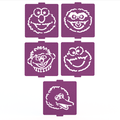 1.png Download STL file Sesame Street stencil set of 5 for Coffee and Baking • 3D printer template, roxenstencil