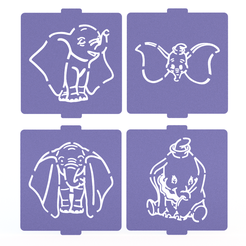 1.png Download STL file Dumbo stencil set of 4 for Coffee and Baking • 3D print design, roxenstencil