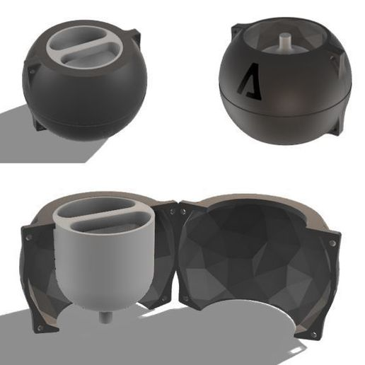 2.JPG Download file CEMENT POT MOULD LOW POLY SPHERE • 3D printing model, EngineerFer