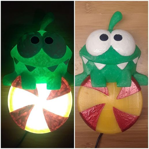 81333340_10157173750636379_5380699393085145088_o.jpg Download free STL file Om Nom Lamp, cut the rope candy LED light • 3D print object, mechengineermike