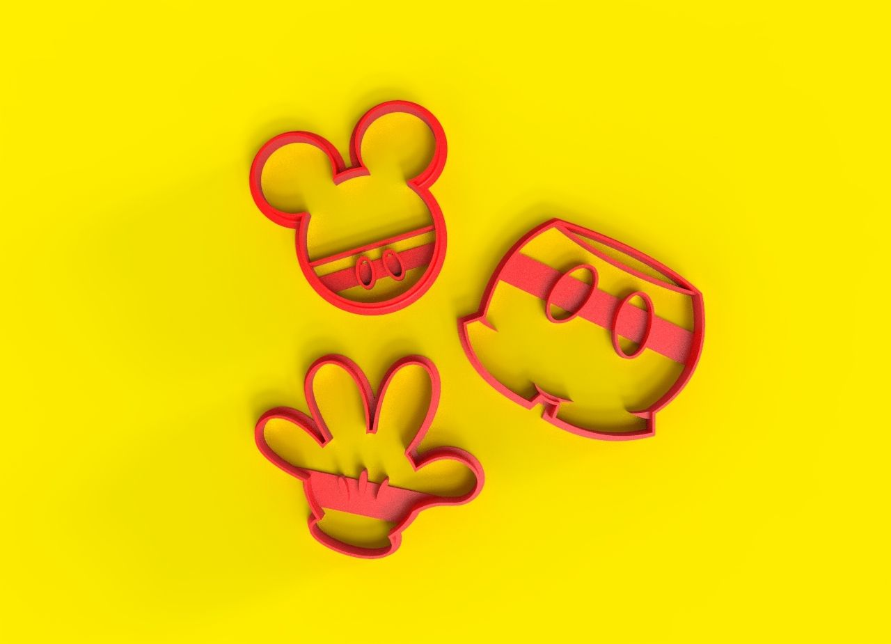 untitled.10.jpg Download STL file Mickey   Cookie cutter • Model to 3D print, Trimenta3D