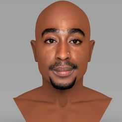 untitled.1330.jpg Download STL file Tupac Shakur bust ready for full color 3D printing • 3D print design, PrintedReality