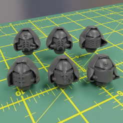 1.png Download STL file Hooded Space Knights Heads • 3D printer object, moodyswing