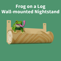 FrogonALog.png Download free STL file Frog On a Log Wall-Mounted Nightstand • 3D print object, cryptidfrog